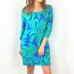 Lilly Pulitzer Dresses - LILLY PULITZER Blue Green 3/4 Sleeve Dress